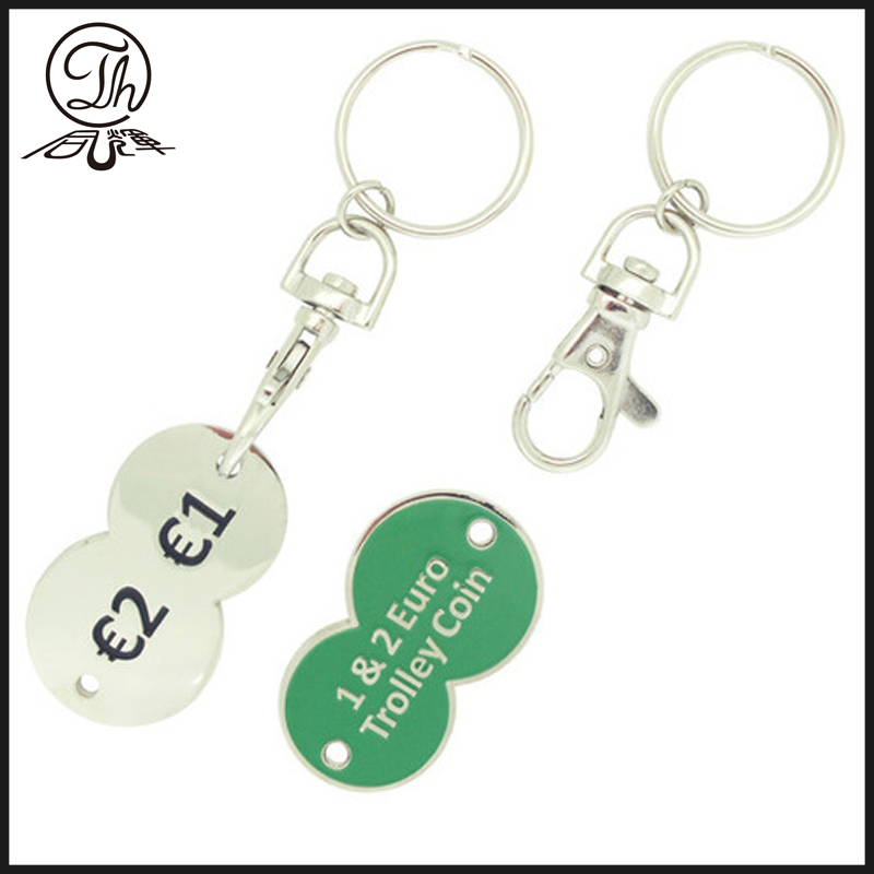 Dog clasp coin keychain with plastic band