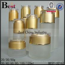Botellas de leche de cristal de la helada 30/60/80 / 100ml con las tapas para la venta, botellas de empaquetado vacías, botella cosmética de la loción del cuidado de la piel