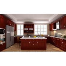 Cabinas de cocina de madera maciza (blanco brillante)