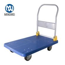 Carrinho de comida de mão de carrinho com plataforma dobrável azul de 400 kg