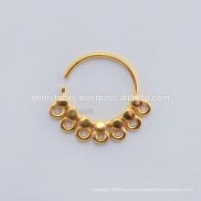 Venta al por mayor Septum nariz anillo de joyería fabricante de cuerpo, hecho a mano oro plateado anillo de nariz joyería