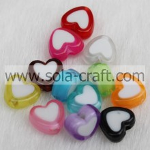 4*8*9MM Bicolor Acrylic Crystal Heart Charm Beads Pattern