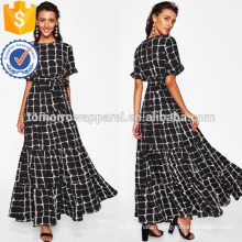 Frilled Sleeve Brush Stroke Grid Tiered Dress Manufacture Wholesale Fashion Women Apparel (TA3216D)