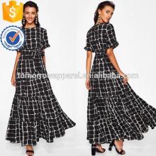 Frilled luva Stroke Stroke Grade Tiered Dress Fabricação Atacado Moda Feminina Vestuário (TA3216D)