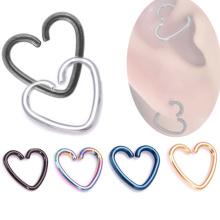 Einfaches modisches Herz Ohr Daith Tragus Knorpel Ohrring Titan Piercing Ring