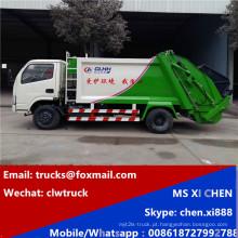 Condução à direita 4x2 3tons DFAC compressa do caminhão de lixo