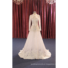 Laço de manga comprida A linha nupcial noite vestidos de casamento