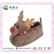 3D Deer Elk Animal Slippers Brinquedo de Natal