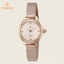 Women′s Round Rose Gold Dial Two Hand Bracelet Watch 71184