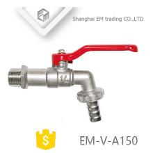 EM-V-A150 Bibcock à bille en laiton nickelé avec poignée en acier