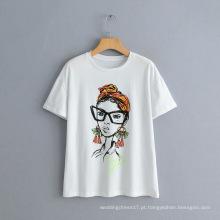 Camiseta de manga curta estampada com nova personagem de beleza nórdica