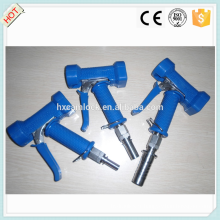 Pistolet de lavage en acier inoxydable à couvercle bleu avec queue de tuyau