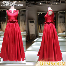 Panyu supplier night ball gown red evening dress with custom waistband