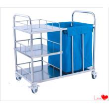 Chariot à linge propre à l'hôpital en acier inoxydable