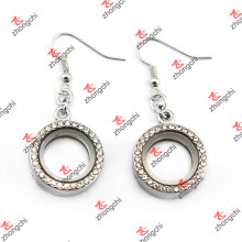 Crystal Pave Round Locket Earings pour Fashion Lady Jewelry (LE132)