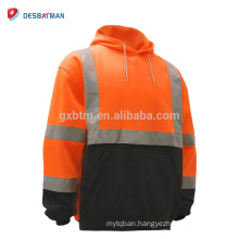 Men's ANSI Class 3 Hi VIz Sweatshirt,High Visibility Hooded Sweatshirt with 360 Degree Reflective Tapes