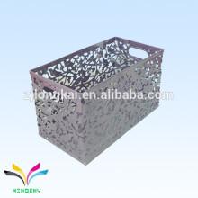 Embalagem de alta qualidade revestida de metal grande caixa de armazenamento organizador de malha de metal