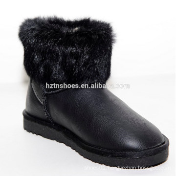 New winter lady flat fox fur snow short boots for girl