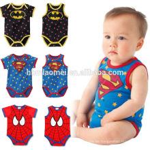Heißer verkauf neugeborenes baby unisex strampler 100% baumwolle baby onesie sohn super hero baby strampler