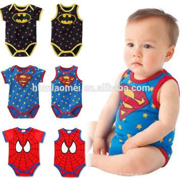 Vente chaude nouveau-né unisexe barboteuse 100% coton bébé onesie infantile super héros bébé fille barboteuse