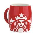 Porcelain Red Starbucks Coffee Carving Mug