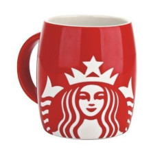 Porcelain Red Starbucks Coffee Carving Mug