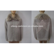 Erdos Cashmere Sweater for Women with genuise Raccoon Collar