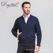 Meistverkaufte Produkte Männer Winter Dunkelgrau Kaschmir Strickjacke Pullover mit Reißverschluss