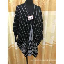 Estilo de moda de la UE venta caliente de punto mujer viscosa suéter poncho
