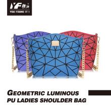 Genuine leather glitter luminous geometric ladies handbag