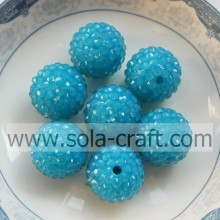 DIY Blue 18*20MM Fluorescent Resin Rhinestone Round Beads Jewelry Finding