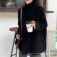 Suéter de cuello alto irregular de invierno 2020 para mujer