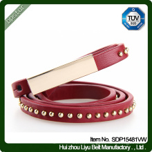 Genuine Leather Belt Lady Female Thin Rivets Dress Strap Cintos de couro Skinny Fashion Women