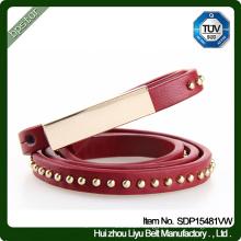 Genuine Leather Belt Lady Female Thin Rivets Dress Strap Cintos de couro Skinny Fashion Women