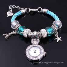 2014 Os relógios de pulso novos das senhoras da voga do bracelete do quartzo da senhora dos grânulos de vidro da chegada