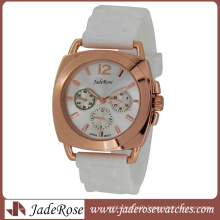 Rosegold White Silicone Strap Ladies Quartz Watch