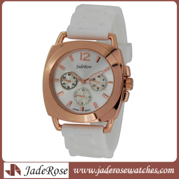 Rosegold White Silicone Strap Ladies Quartz Watch