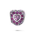 Perles en argent sterling 925 en forme de coeur avec bijoux CZ