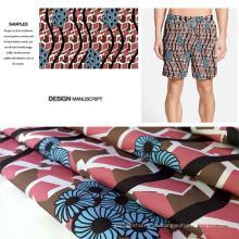 Polyester gebürstet Stoffdruck für Beach Shorts, Hosen, Cacual trägt