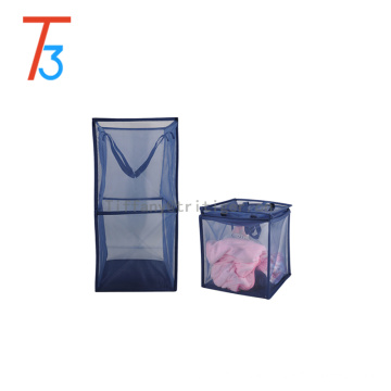 home Organizer Bathroom Storage Basket blue foldable Storage nylon net Laundry Basket