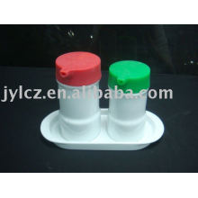 Ceramic oil and vinegar bottle set with dish and silicone cover