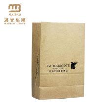 OEM Takeaway Food Packaging Block Flat Square Bottom Grease Proof Brown Kraft Paper Bags With No Handle