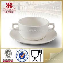 Recipiente de sopa de cerámica para el hogar con dos asas dobles con placa