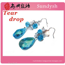 artificial unique fashion multi stone hanging big bling bling bulk large crystal bead colored silver hoop earrings wholesale