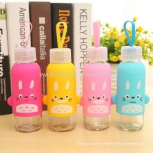 BPA livre garrafa de água de vidro bonito com manga protetora de silicone