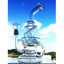Portable 12 Inch Height Inline Percolator Recycle Glass Water Pipe with Factory Price
