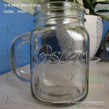 450ml de relieve en relieve con mango de vidrio Mason Jars para la venta