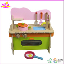 Cuisine de jeu de rôle en bois de couleur lumineuse avec des accessoires (W10C056)