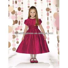 HF2102 Burgundy short sleeve ruffled waist pleated satin ball gown zipper Mid-calf A-line dress jewel neckline girl fancy dress