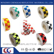 Multi couleur à grande visibilité sécurité Checkered ruban de signalisation réfléchissant (C3500-G)